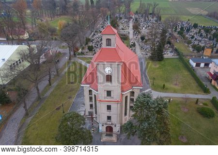 Iłowa, Town In Poland, Parish Church, View From The Drone.\niłowa, A Small Town In Western Poland. T