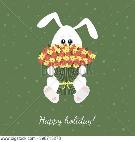 Small White Hare With A Bouquet Of Flowers. Illustration For Children.