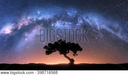 Alone Tree And Milky Way Arch At Night. Landscape With Old Tree, Bright Arched Milky Way, Sky With S