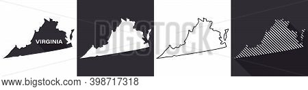 State Of Virginia. Map Of Virginia. United States Of America Virginia. State Maps. Vector Illustrati