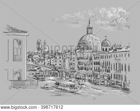 Venice Hand Drawing Vector Illustration Grand Canal Gray