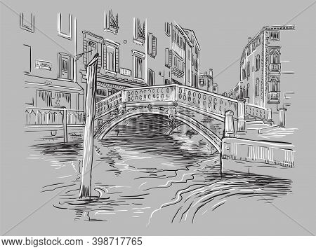 Venice Hand Drawing Vector Illustration Canal On Gray