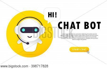 Chat Bot Banner. Hi Message. Online Assistant Bot Landing Page Template. Dialog. Technical Support.