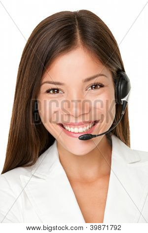 Close up shot of smiling call center operator