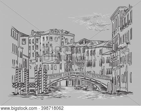 Venice Drawing Illustration Bridge On Canal Gray