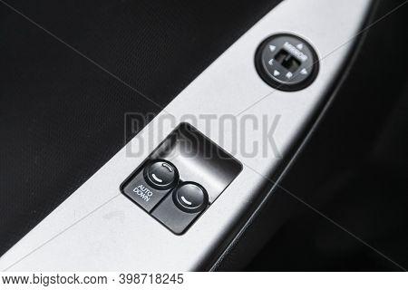 Novosibirsk, Russia - December 07, 2020: Hyundai Solaris , Close-up Of The Side Door Buttons: Window