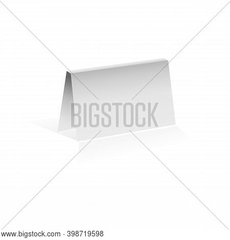 Bent Paper Card Isolated On White Background, Vector Image.