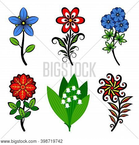 Set Of Stylized Flowers Collection. Various Stylized Flowers Isolated On White Background. Vector Il