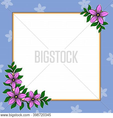 Decorative Frame With Flowers. Colorful Floral Border. Corner Ornament Of Stylized Flowers. Greeting