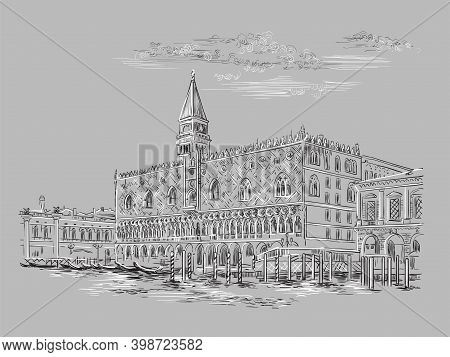 Vector Hand Drawing Sketch Illustration Of Palace In Venice. Venice Skyline Hand Drawn Sketch In Mon