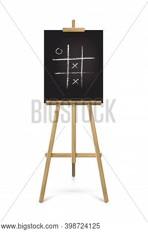 Easel Standing With Black Board. Blank Blackboard On Wooden Tripod For Art, Painting, Drawing Or Ann