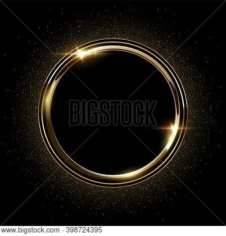 Golden Round Metal Circle Rings With Sparkles Background. Shining Abstract Frame. Yellow Shiny Circu