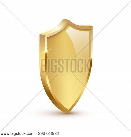 Golden Shield Frame Design. Gold Heraldic Glass Emblem Vector Illustration. Retro Luxury Element Wit