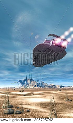 Futuristic Scifi Battle Spaceship Flying Over The Surface Of An Alien Planet, 3d Render.