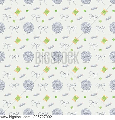 Watercolor Pattern With Sewing Knitting Threads With Green Buttons. A Bobbin Of Sewing Thread, A Bob
