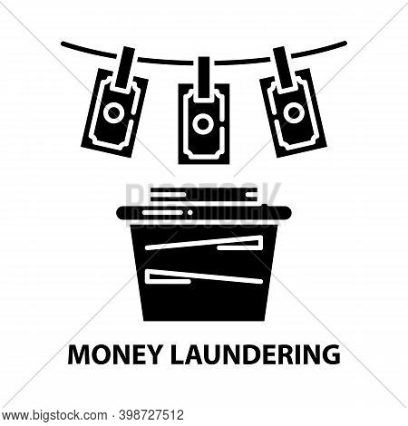 Money Laundering Icon, Black Vector Sign With Editable Strokes, Concept Illustration