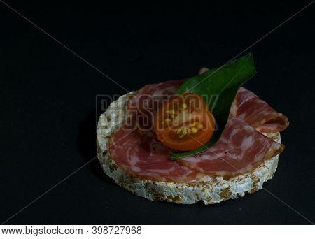Grain Crispbreads Crispy Rice Diet Bread And Smoked Sausage Sandwich With Half Cherry Tomato. Rice C
