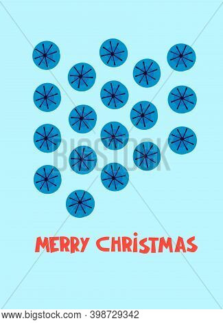 Merry Christmas Greeting Card Design Template. Snowflakes And Hand Lettering On Turqoise Background