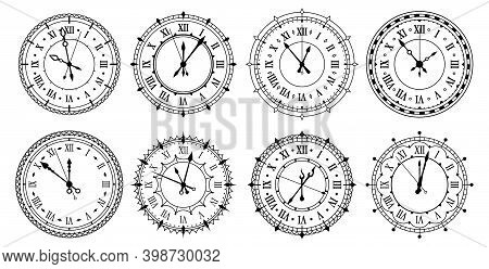 Vintage Wall Clocks With Roman Numerals Outline Icons Set. Clockfaces With Ornamental Round Frames.