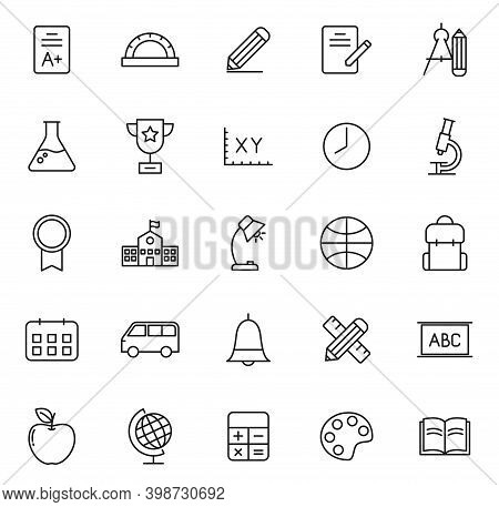 School Linear Vector Icons Isolated On White. School Icon Set For Web And Ui Design, Mobile Apps And