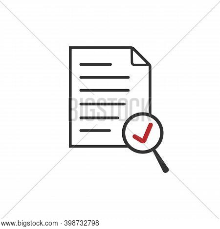 Scrutiny Document Plan, Magnifying Glass Like Check Assess, Vector Icon.