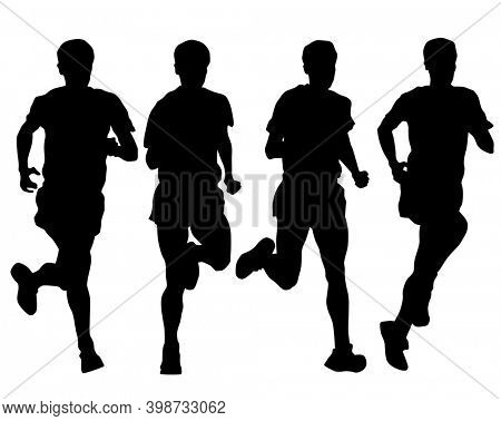 Young athletes run a marathon. Isolated silhouettes on white background