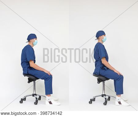 Male medical professional  with hunched back   versus  with straight back sitting on mobile saddle . Incorrect and correct posture.