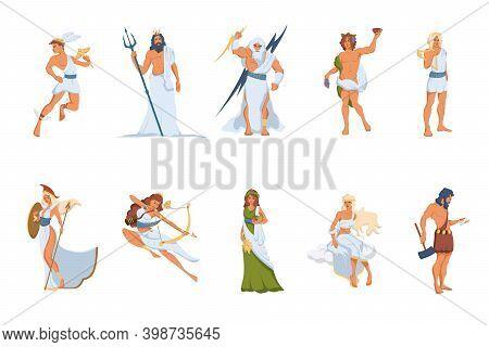 Greek Gods And Goddesses Set. Athena, Hermes, Venus, Poseidon, Zeus, Dionysus, Artemis, Hephaestus,