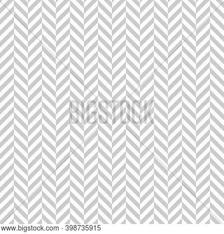 Seamless Grey And White Zigzag Pattern, Vector Illustration. Chevron Zigzag Pattern With Gray Lines.