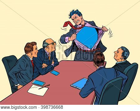 Businessman Superhero At A Work Meeting. Business Success. Cool Presentation Of The Project. Pop Art