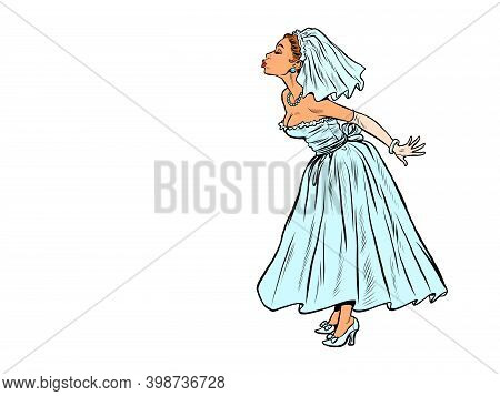 The Bride Prepared For The Kiss. Wedding Pop Art Retro Illustration Kitsch Vintage 50s 60s Style