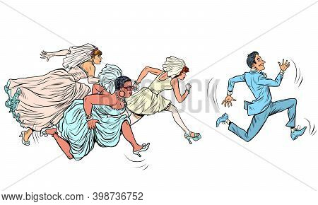 The Groom Comically Runs Away From Several Brides. Polygyny. Pop Art Retro Illustration Kitsch Vinta