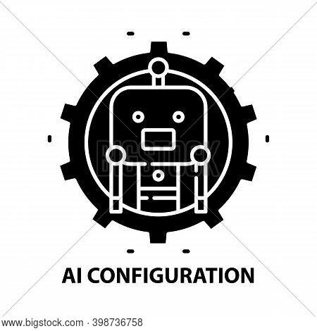 Ai Configuration Icon, Black Vector Sign With Editable Strokes, Concept Illustration