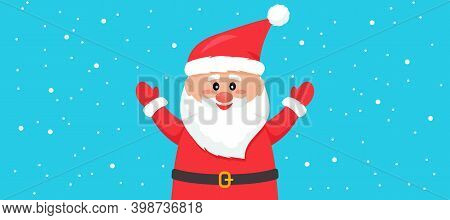 Greeting Christmas Card Happy New Year. Santa Claus Is Jumping Into A Snowdrift. Congratulatory Insc