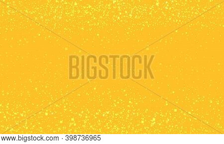 Golden Christmas Background. Abstract Yellow Color With Sequins. Pop Art Retro Illustration 50s 60s