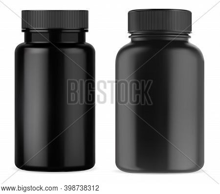 Black Pill Supplement Bottle. Vitamin Jar Plastic Mockup. Black Medicine Container With Cap Isolated
