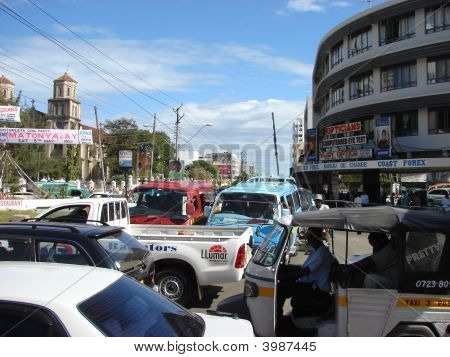 Traffic In The Street Of Mombasa.