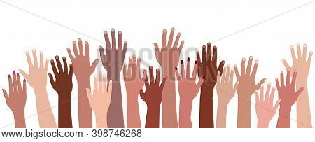 Racial Equality. Group Raised Human Arms And Hands.diversity Multiethnic People. Men And Women Of Di
