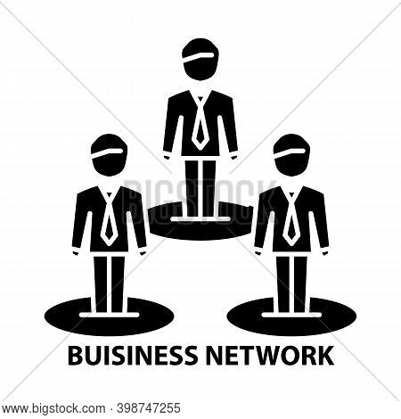 Buisiness Network Icon, Black Vector Sign With Editable Strokes, Concept Illustration