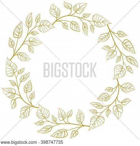Foliate Frame With Gold Leaves For Greeting Cards, Invitations, Posters, Banners.