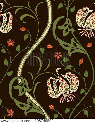 Big Lily Flower Seamless Pattern On Dark Background. Vector Illustration. Futuristic Colored Lily, S