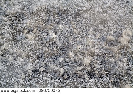 Abstract Ice Pattern With Crack. Seasonal Background For Wallpaper Or Design.