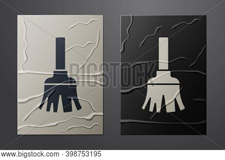 White Feather Broom For Cleaning Icon Isolated On Crumpled Paper Background. Feather Duster. Paper A