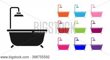 Black Bathtub With Shower Icon Isolated On White Background. Set Icons Colorful. Vector