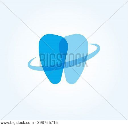 Dentistry Flat Cartoon Style Vector Logo Concept. Protected Tooth, Isolated Icon On White Background