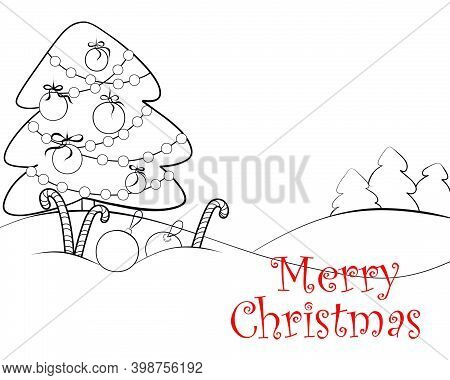 New Year's Coloring Book For Children. Festive Postcard. Christmas Tree Decorated With Balls And Gar