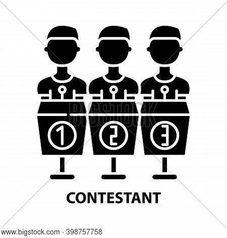 Contestant Icon, Black Vector Sign With Editable Strokes, Concept Illustration