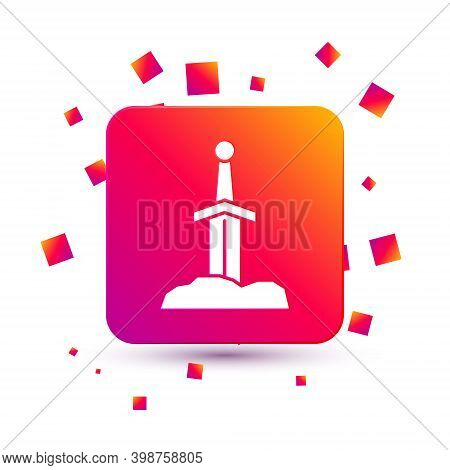 White Sword In The Stone Icon Isolated On White Background. Excalibur The Sword In The Stone From Th