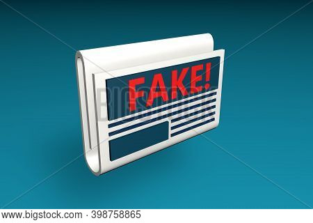 3d Render Of Newspaper With Fake News, Misleading. Manipulation Of Facts And Lie In The Press.