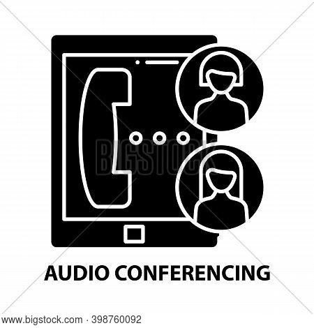Audio Conferencing Icon, Black Vector Sign With Editable Strokes, Concept Illustration